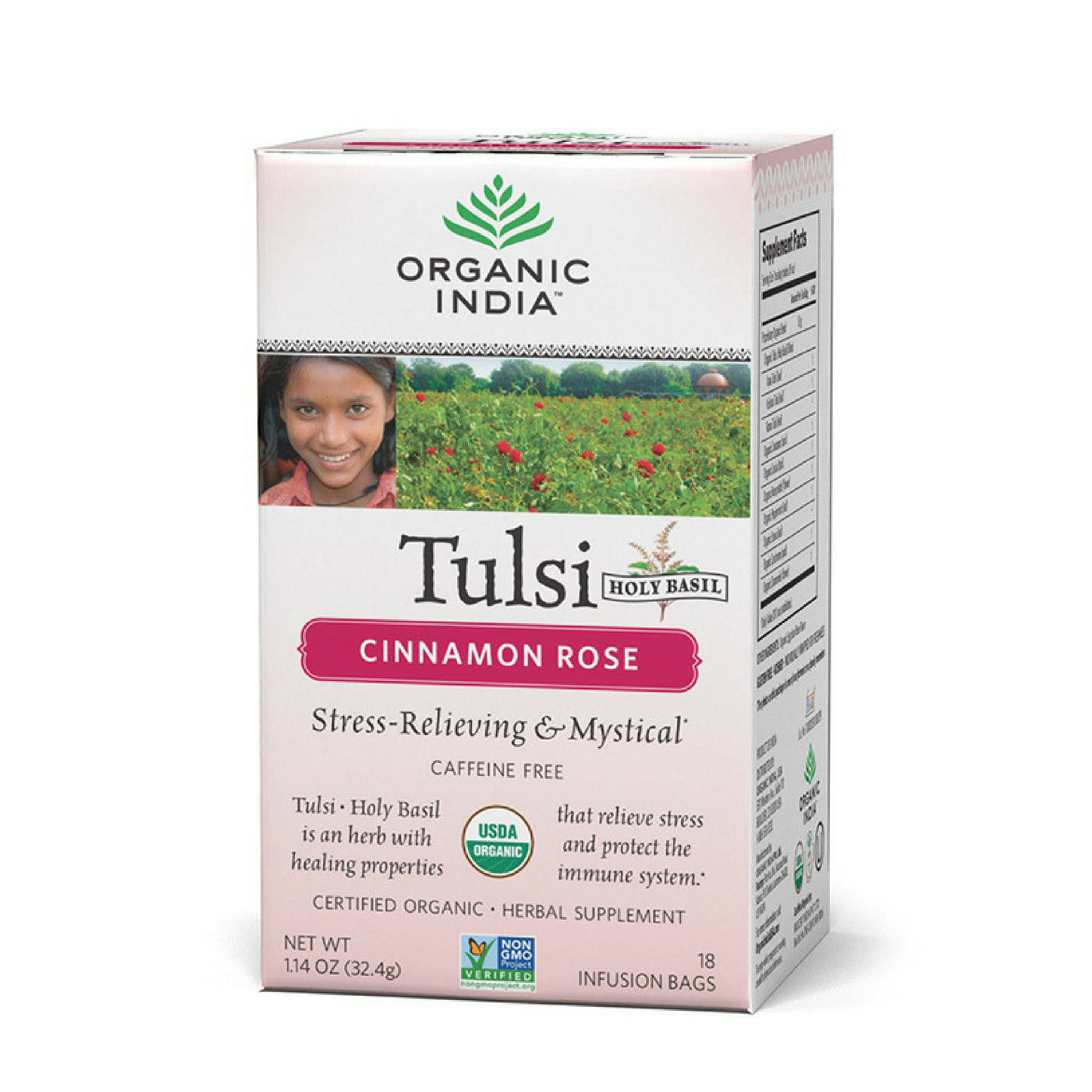 Organic India Tulsi Holy Basil Tea, Cinnamon Rose, Caffeine-Free