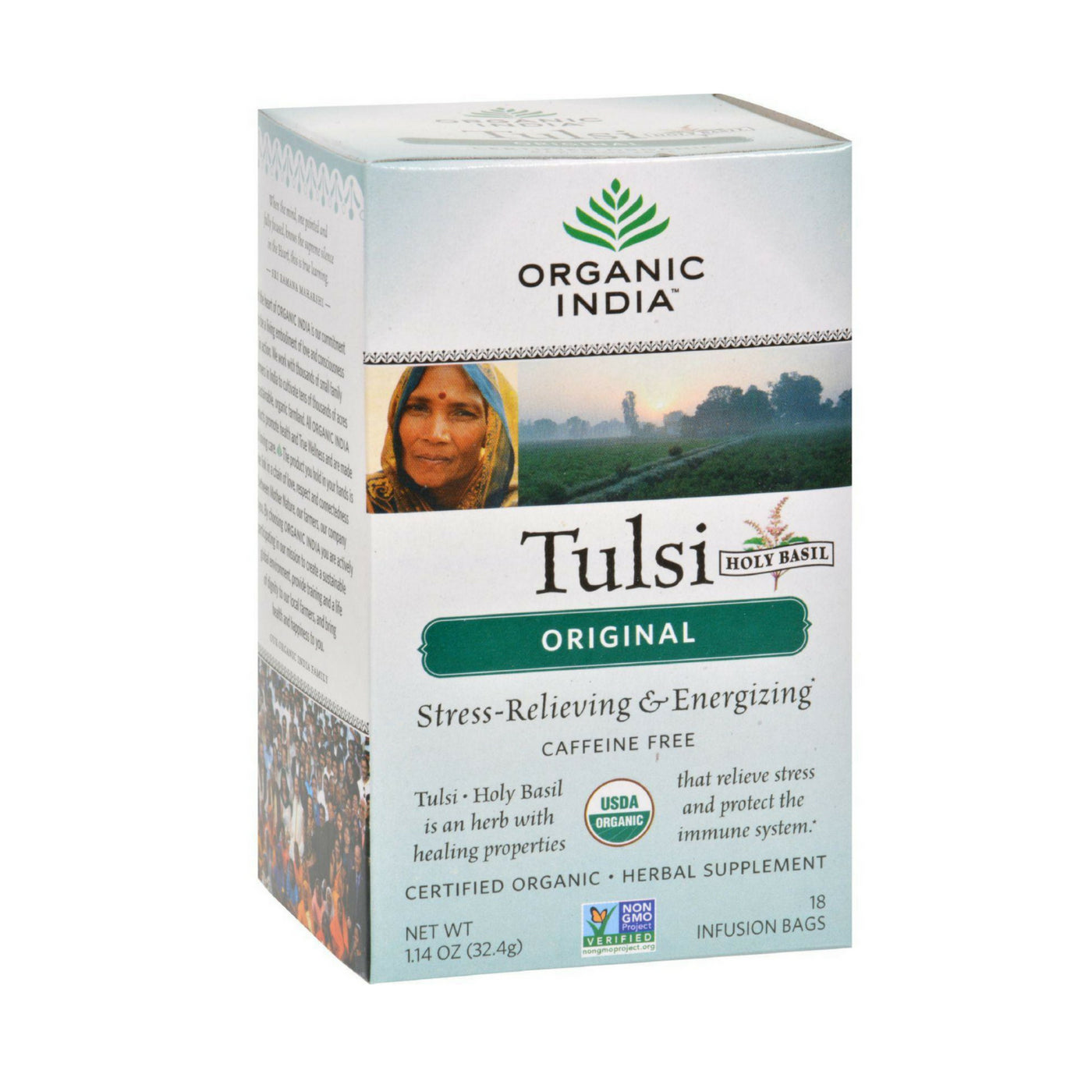 Organic India Tulsi Holy Basil Tea, Orginal, Caffeine-Free