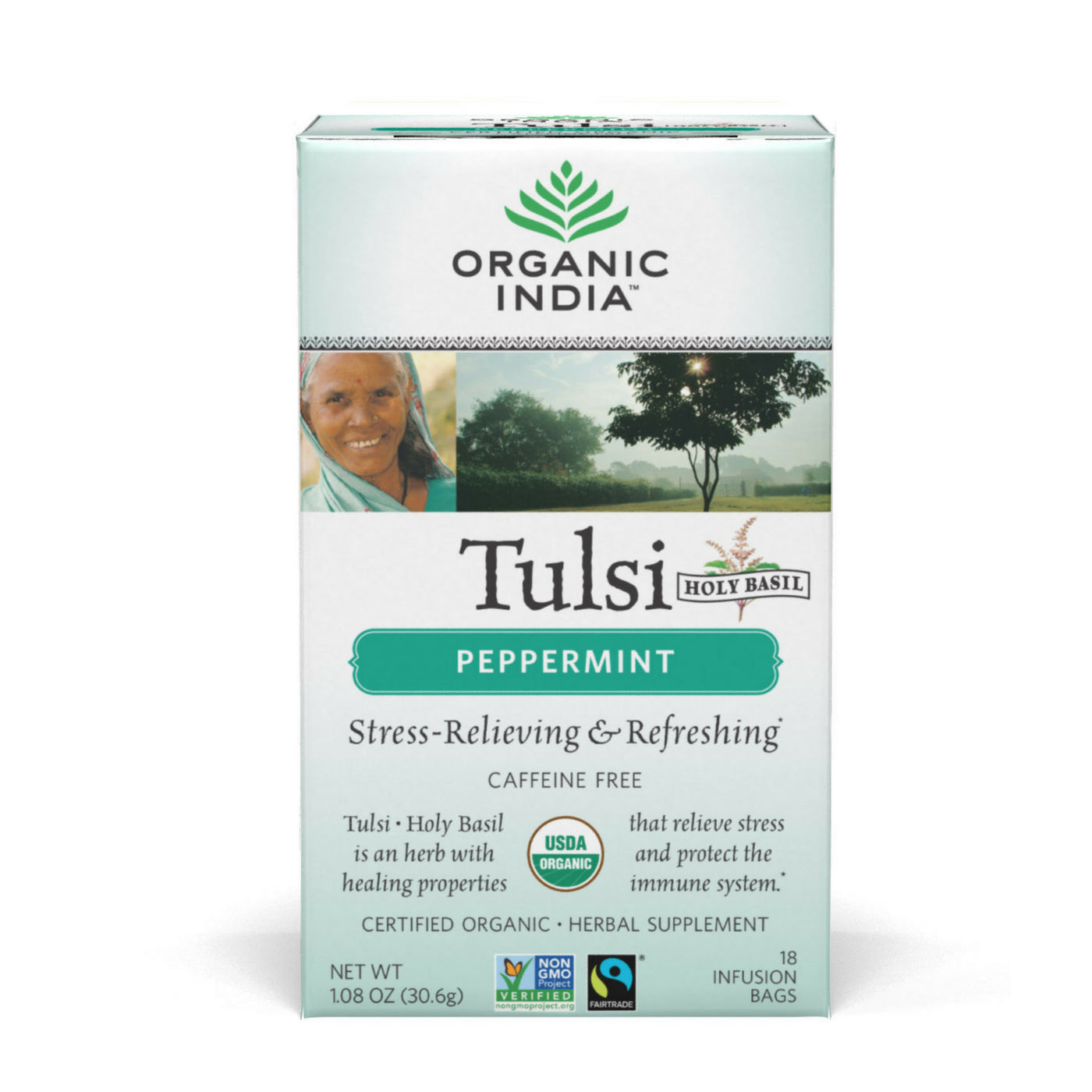 Organic India Tulsi Holy Basil Tea, Peppermint