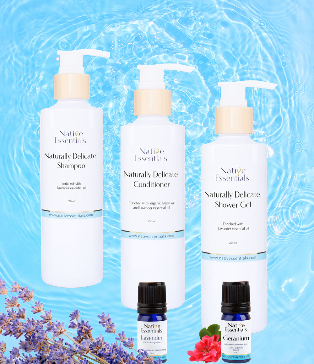 All Natural Body And Hair Trio Set + 2 free gift Essential Oils - Native Essentials