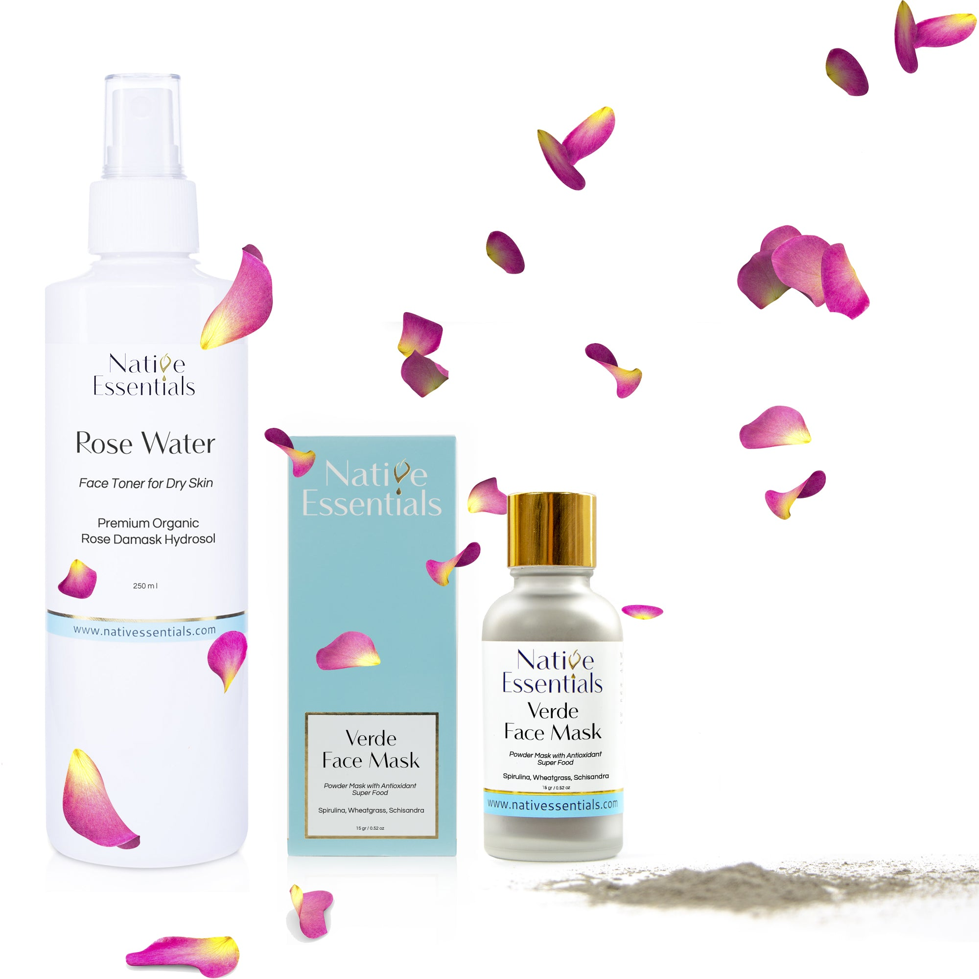 Rose Water and Verde Face Mask Set + free gift Lip Mask - Native Essentials