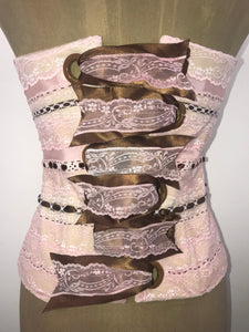 Pink Layered Lace with Locket Inset and Chocolate Ribbons