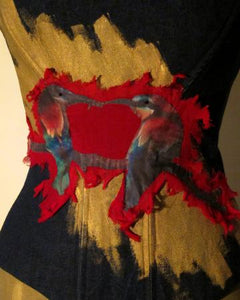 Parrot Love On Painted Denim