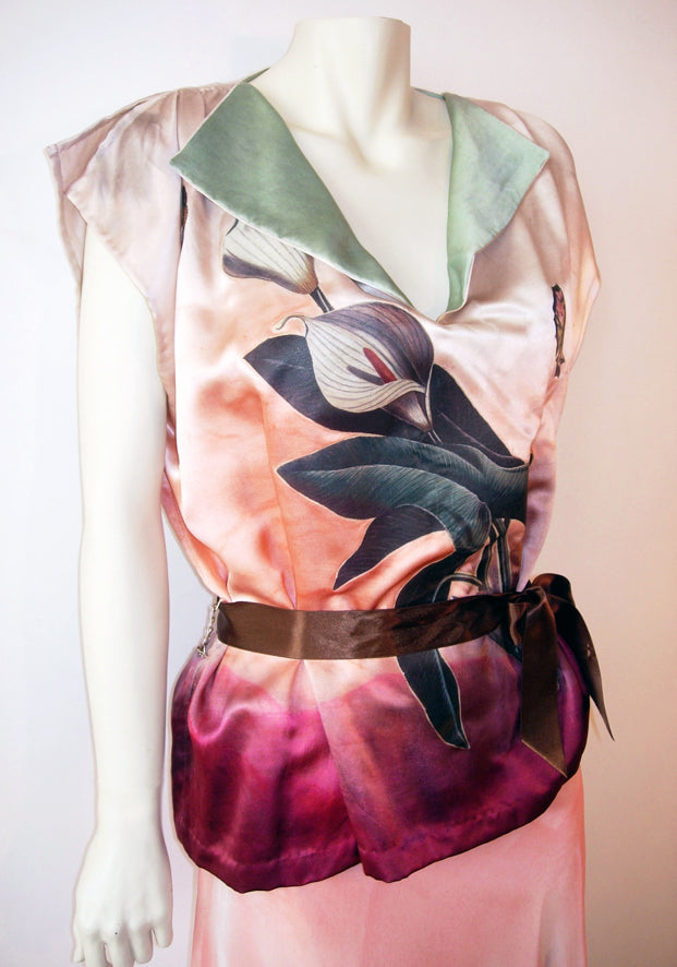 Kimono Silk Satin Evening Calla Lily Top