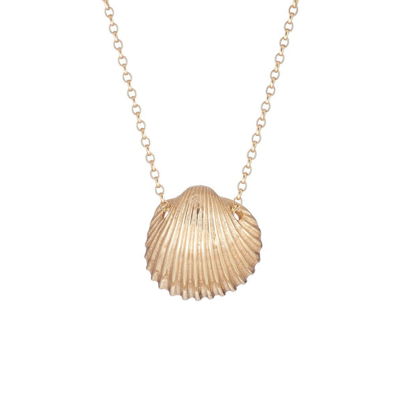 Gold Cockle Shell Necklace - Medium