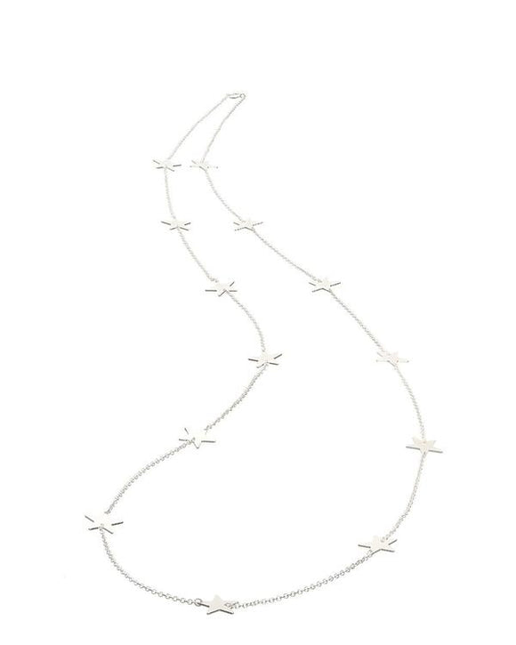 LONG SILVER ALL STAR NECKLACE