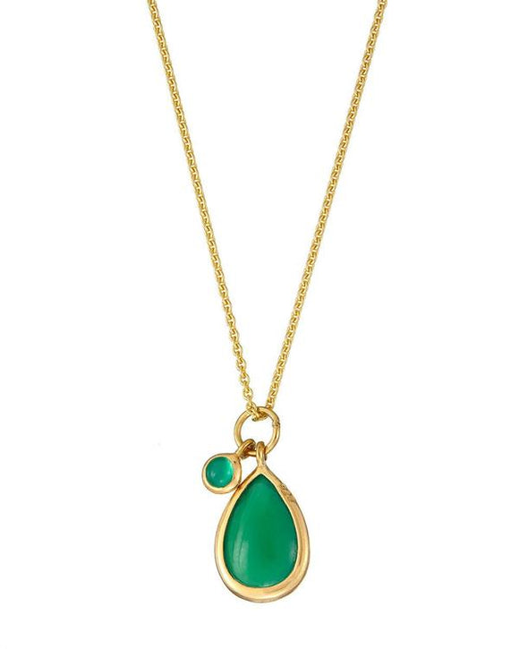 GREEN ONYX TEARDROP NECKLACE