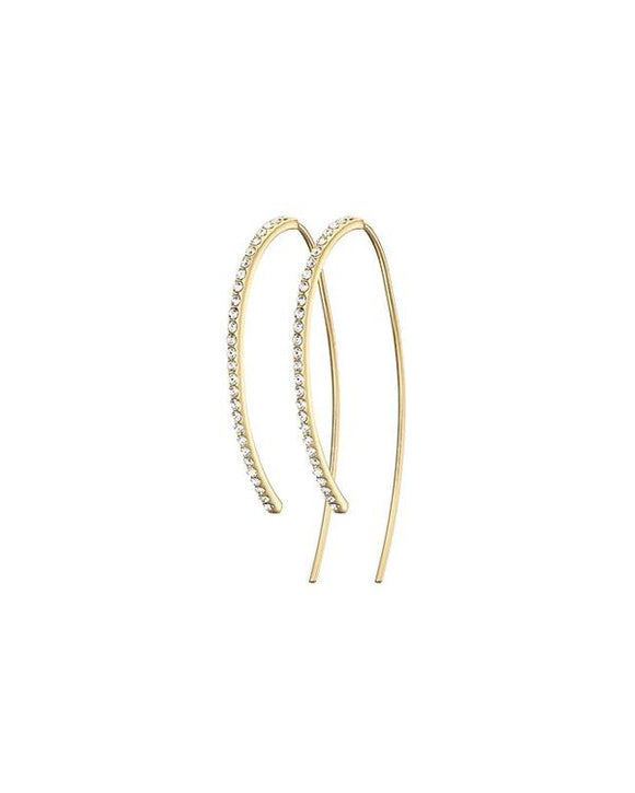 GOLD CURVE PAVE EARRING