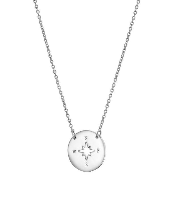 SILVER CUTOUT COMPASS NECKLACE