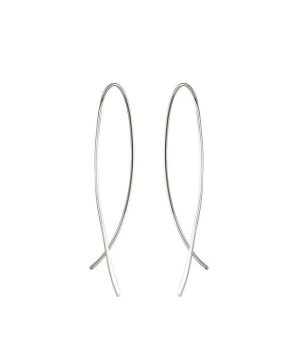SILVER CROSSOVER EARRINGS