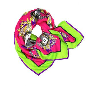 Jester Pink Luxury Silk Scarf by Debbie Millington
