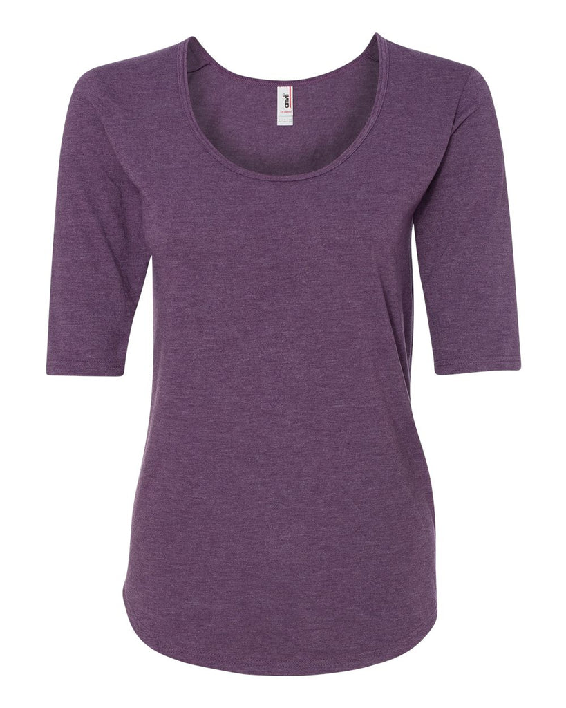 Anvil Women's Triblend Deep Scoopneck Three-Quarter Sleeve T-Shirt