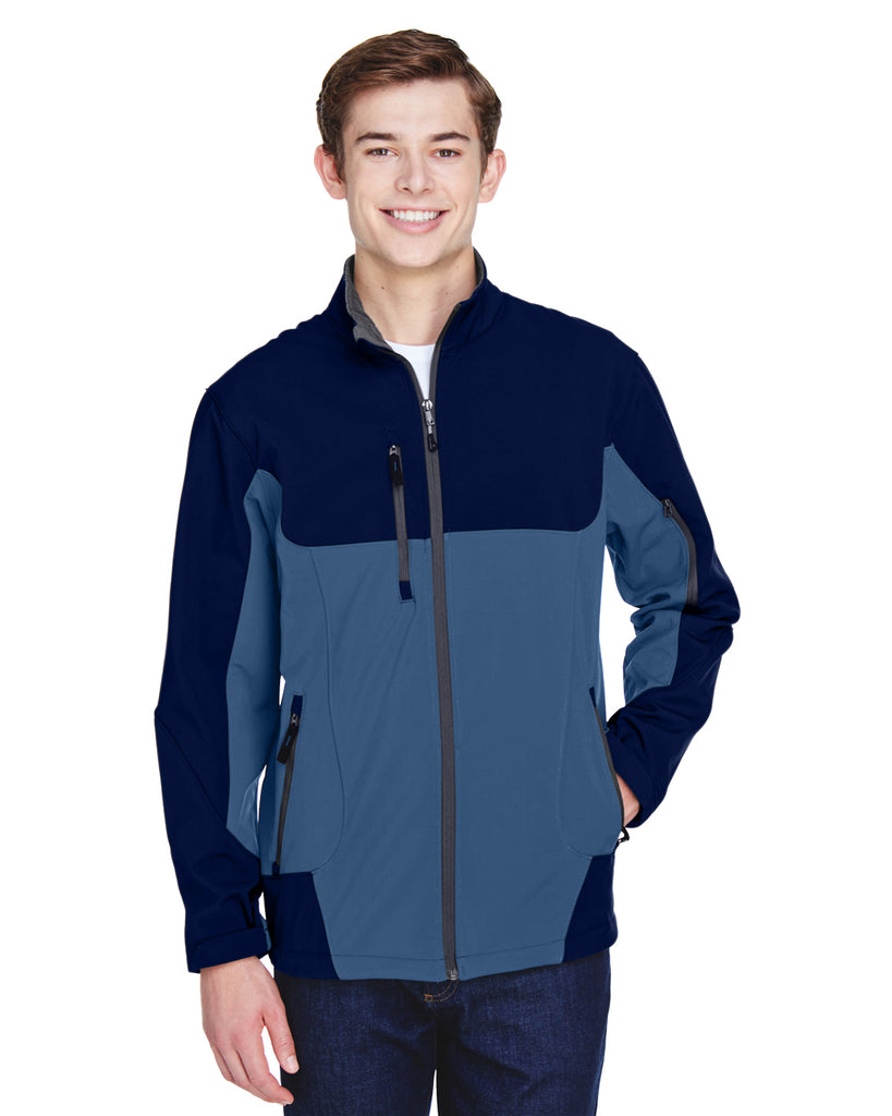 North End Men Compass Colorblock Threelayer Fleece Bonded Soft Shell Jacket Blue Ridge