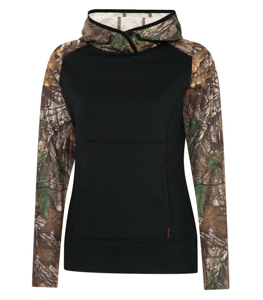 Realtree L2051 Tech Fleece Two Tone Hooded Ladies Sweatshirt
