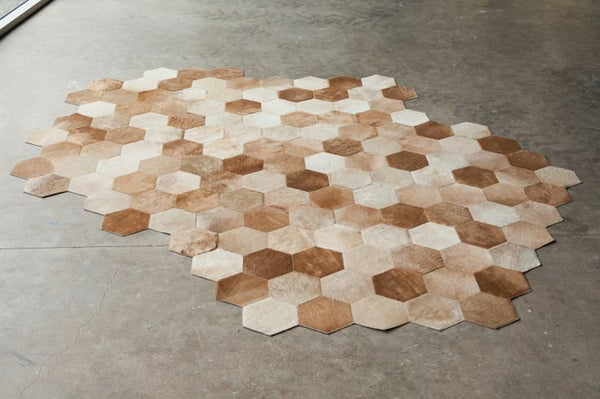 Cowhide Patchwork Rug HEXAGON CAMEL