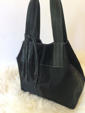 Black Cowhide Purse Unique Piece Cow Hide Handbag. Leather Bag.