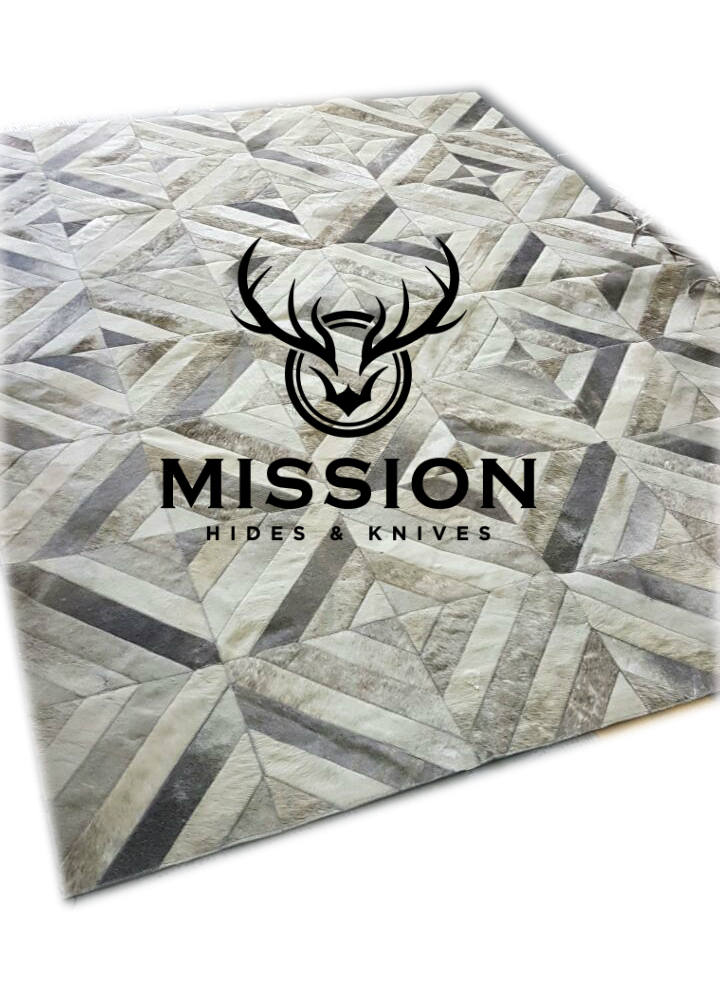 GREY Cowhide Patchwork Rug 6'x8'