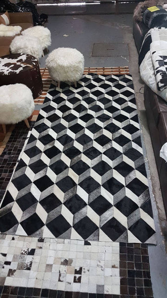 Cowhide Patchwork Rug 3D Grey White Black
