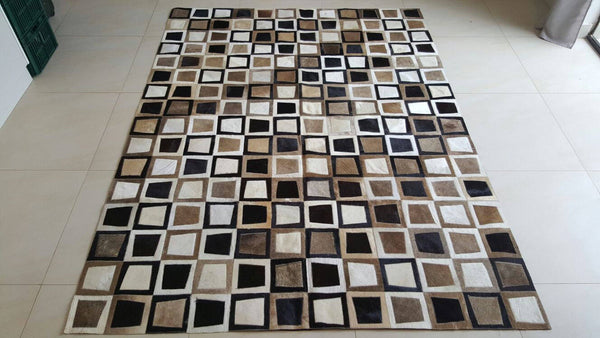 Cowhide Patchwork Rug. BLACK WHITE GOLD!  9ft x 12ft!