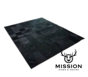 Black Cowhide Patchwork Rug  1.8 x 2.4 m Tapis Peau Vache Kufhell Teppich