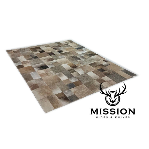 Cowhide Rug Grey Patchwork 1.4 x 1.8 m. Kufhell Teppich Tapis Peau Vache