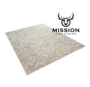 Chevron White  Cowhide Rug Patchwork Rug 6 x 8 ft Herringbone