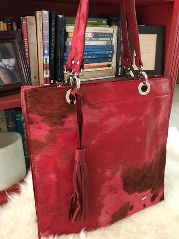 Cowhide  Purse RED Unique Piece Cow Hide Handbag. Leather Bag.