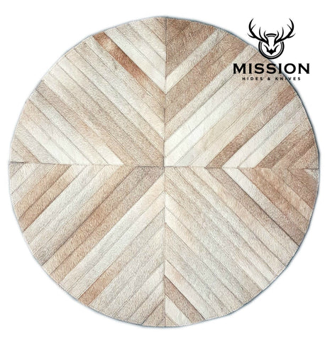 ROUND Stripes Cowhide Patchwork RUG. AMAZING!