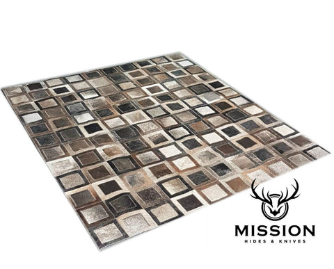 Cowhide Rug Patchwork Rug GREY
