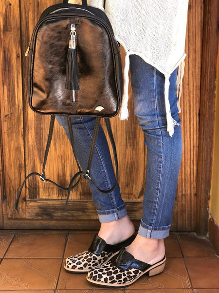 Cowhide Purse Unique Piece Back Pack Handbag Leather Bag
