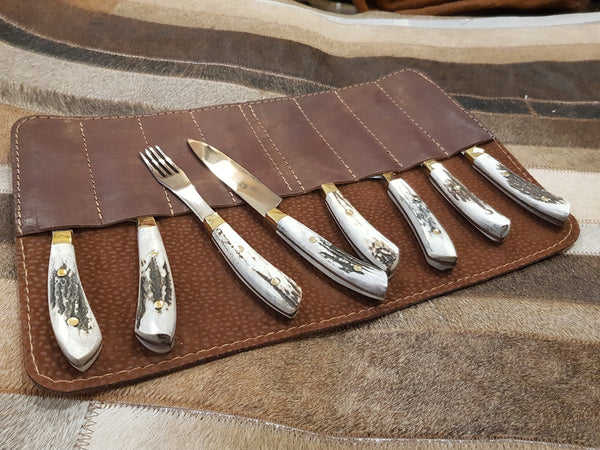 Argentine HANDMADE Gaucho STEAK KNIFE Fork x 4 Deer Horn Stainless Steel  Mission Argentina.