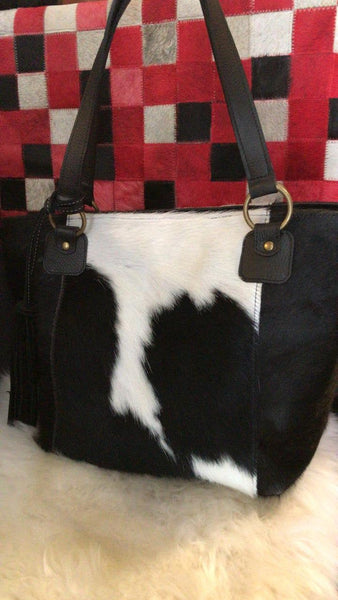 Cowhide Purse Unique Piece Cow Hide Handbag. Leather Bag.