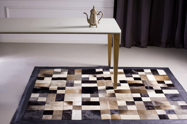 Cowhide Patchwork Rug.  Amazing Design! 6 ft x 8 ft!