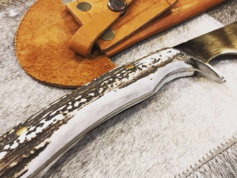 "Argentine Gaucho Deer Horn Carving Knife. Stainless Steel 420 Mo Va. Mission Argentina. 11"" Blade"