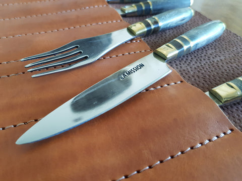 Argentine Gaucho STEAK KNIVES SET Fork x 4 Stainless Steel  Mission Argentina.