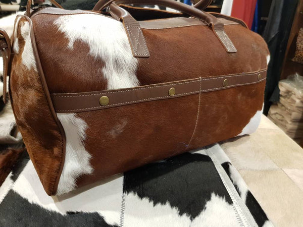 Cowhide Travel Bag! Weekender Traveller Bag! Unique Piece!