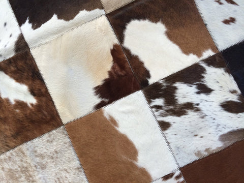 "Cowhide Patchwork Rug. BROWN WHITE!! 4x6 ft! 8 ""Squares. Amazing Design! A219"