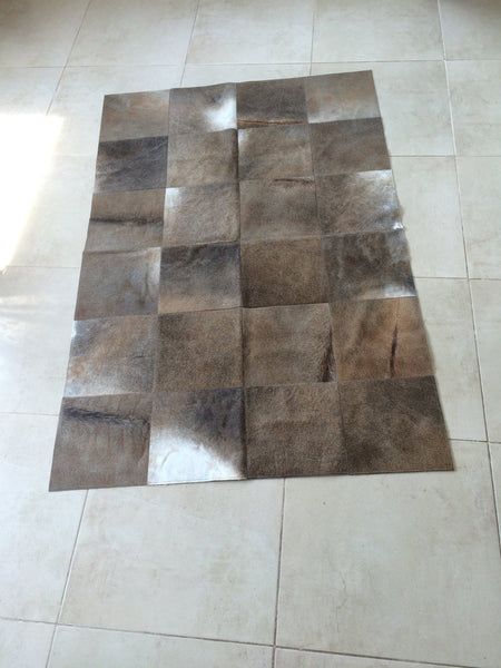 Cowhide Patchwork Rug. DARK GRAY!! Ready to Ship! 4' x 6' ft ! 1ft Squares! A233