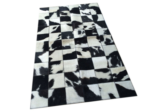 "Cowhide Patchwork Bedside Rug.  BLACK & WHITE!! Amazing! 2 ft x 3.3 ft! 4"" Squares. A238"