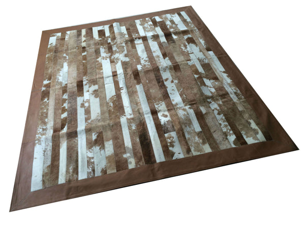 "Cowhide Patchwork Rug.  BROWN STRIPES!! Amazing Design! 5.2 ft x 6.6 ft! Leather Frame 4 "". A243"
