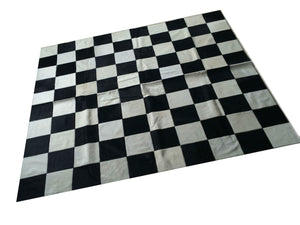 "Cowhide Patchwork Rug.  BLACK WHITE CHECKERS!! Amazing Design! 6.6 ft x 6.6 ft! Squares 8 "". a244"