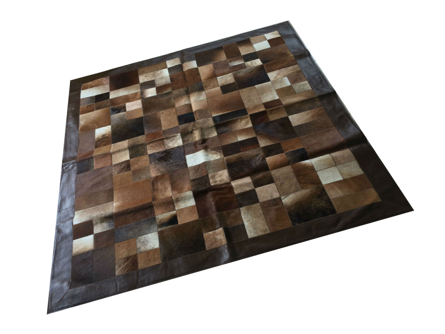 "Cowhide Patchwork Rug.  BROWN MULTIFORM!! Amazing Design! 5.2 ft x 6.6 ft! Leather Frame 4 "". A245"