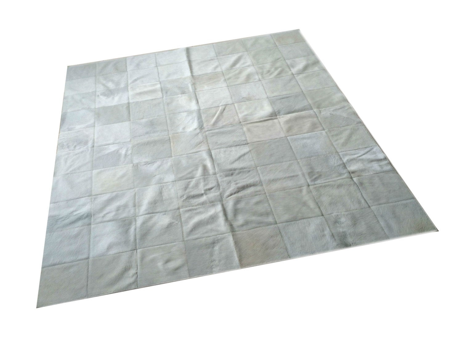 "Cowhide Patchwork Rug.  WHITE!! Amazing Design! 5.2 ft x 6.6 ft! 8 ""Squares. A249"