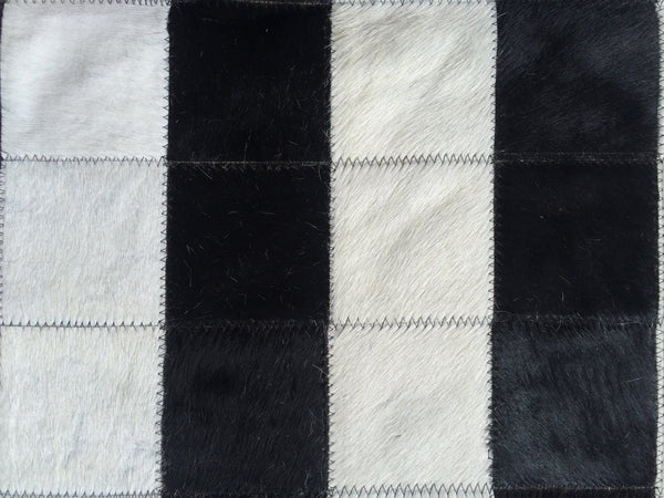 "Cowhide Patchwork Rug BLACK WHITE !! 6 ft  x 8 ft. 4"" Squares Amazing Design! a257"