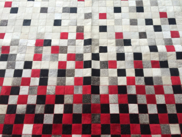 "Cowhide Patchwork Rug. RED FADE!! Amazing Design!. 4.6 ft x 6 ft/2 ""Squares"