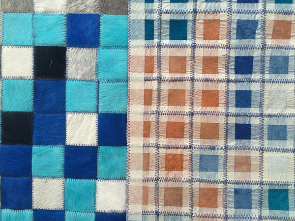 "Cowhide Patchwork Rug. BLUE FADE!! Amazing Design!. 4.6 ft x 6 ft/2 ""Squares"