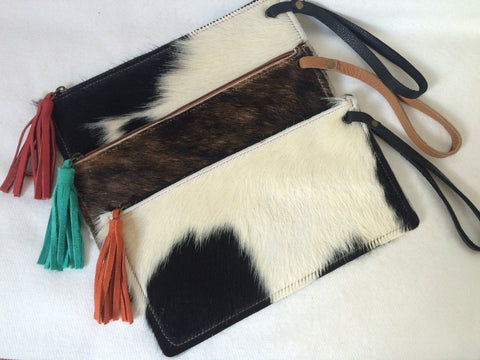 Cowhide Clutch Unique Piece Cow Hide Handbag. Leather Bag.
