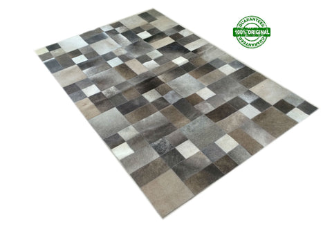 Cowhide Patchwork Rug GRAY GRIS 4 ft x 6 ft! A344.