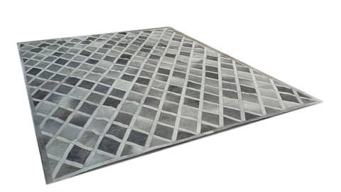 Diamond Cowhide Patchwork Rug GREY