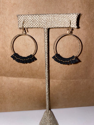 Black/Gold Leather Tassel Earrings